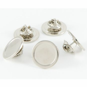 Superior Badge Blank round 16mm silver clutch and clear dome